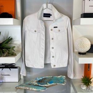 🕊 Calvin Klein CRISP WHITE JEANS JACKET NWOT